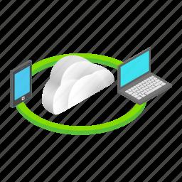 cloud, computing, concept, data, file, isometric, sync icon