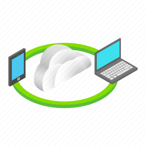 cloud, computing, concept, data, file, isometric, sync icon