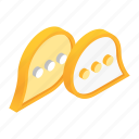 bubble, chat, communication, isometric, message, speech, talking icon