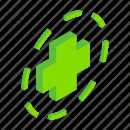 add, circle, cross, green, isometric, math, plus icon