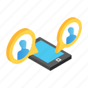isometric, smartphone, mobile, phone, chat, interface, technology