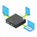 isometric, laptop, wireless, phone, device, router, electronic