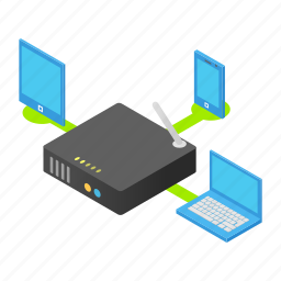 device, electronic, isometric, laptop, phone, router, wireless icon