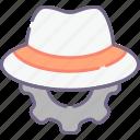 hat, setting, white icon