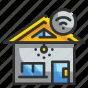 buliding, home, house, smarthome, wifi icon
