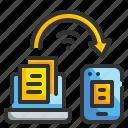 computer, internet, smartphone, transfer, wifi icon