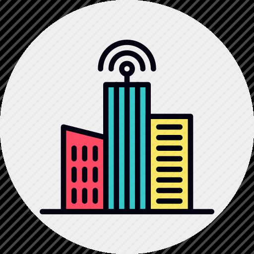 buildings, city, future, metropolitan, sensor, smart, urban icon