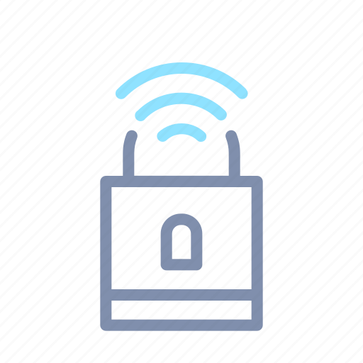 connection, internet, iot, padlock, security, things, wireless icon