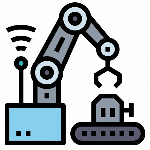 connect, factory, industry, network, robot icon