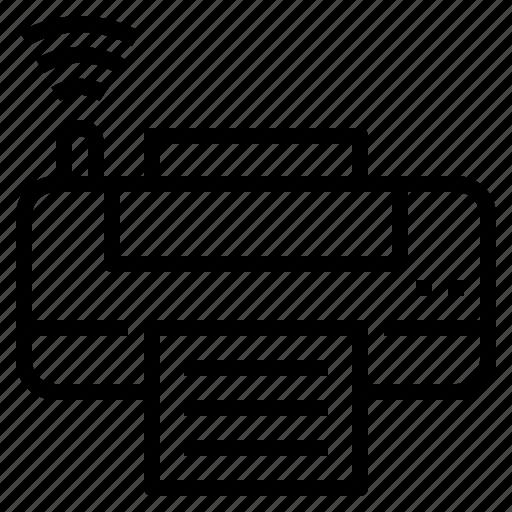 bluetooth, internet, paper, print, printer icon
