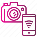 camera, connect, internet, transfer, wireless icon