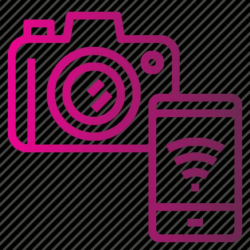 camera, connect, internet, transfer, wireless icon
