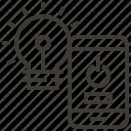 bulb, device, light, light bulb, power icon