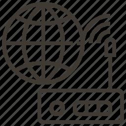 globe, router, signal, world icon