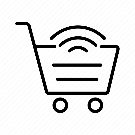 internet of things, iot, online shopping, shopping, shopping cart, wifi enabled cart, wireless network icon