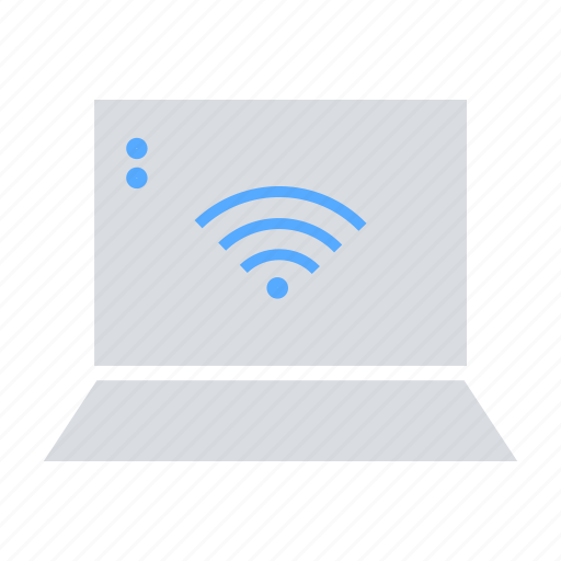 communication, connectivity, data transfer, laptop, wifi signal, wireless icon