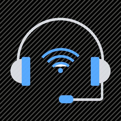 communication, headphone, internet of things, iot, wifi signal, wireless icon