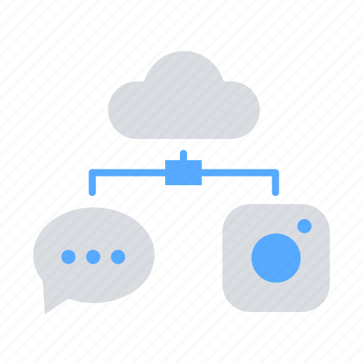chat, cloud server, cloud storage, communication, data transfer, images icon