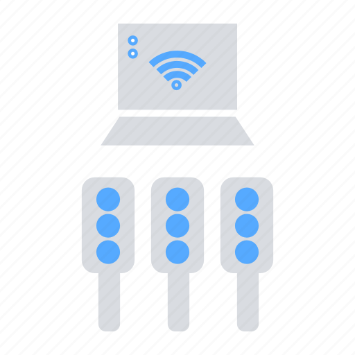 Communiction, internet of things, automation, iot, traffic signal icon