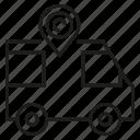 gps, pin, transport, van icon
