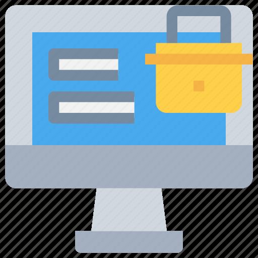 computer, login, padlock, secure, security icon