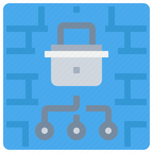 firewall, network, padlock, secure, security, wall icon