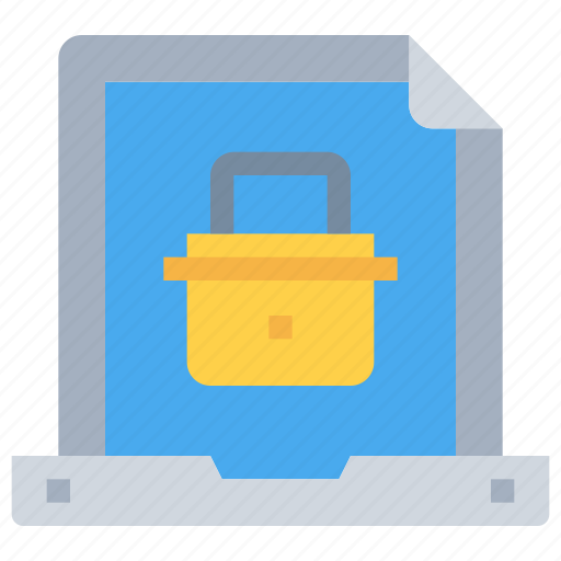computer, digital, document, padlock, secure, security icon