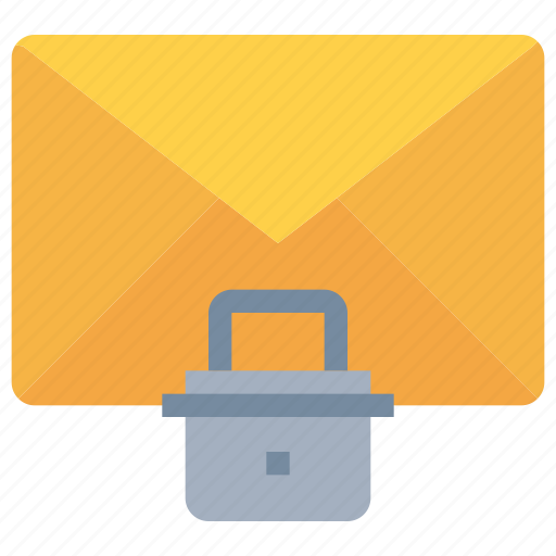 communication, email, mail, padlock, secure, security icon
