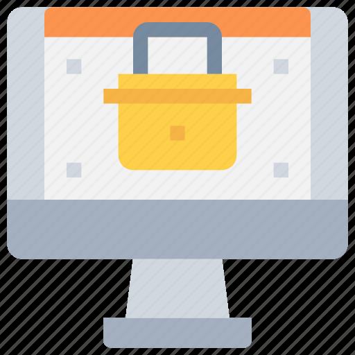 computer, padlock, secure, security, web, website icon