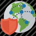 cyber security, global cyber security, global security, network security, worldwide security icon