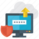 cloud security, cloud shield protection, data protection, password protection, secure cloud icon