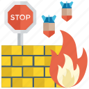 firewall, firewall security, firewall with brick, internet security, protection, safety icon