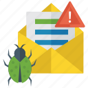 bug report, mail with virus, malware detection, spam document, spam mail icon