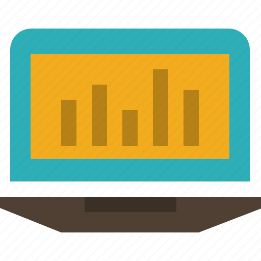 analytics, graph, laptop, monitoring, statistics icon
