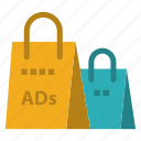 2, ad, advertising, bag, purse, shopping icon