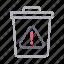 alert, delete, error, recycle, warning