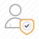 account, profile, protection, secure, shield icon