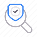 check, protection, search, secure, shield icon
