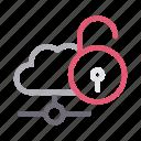 cloud, connection, network, storage, unlock