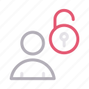 account, profile, unlock, unsecured, user icon