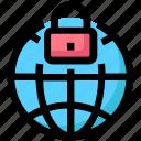 globe, internet, lock, protection, security