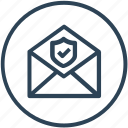 email, protection, security, shield icon