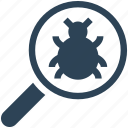 scan, search, virus, magnify glass, bug icon