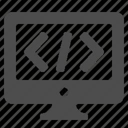 code, coding, computer, html, pc, screen, seo icon