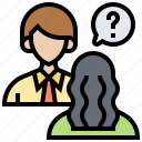 asking, human, interview, questions, resources icon