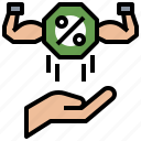 business, commission, hand, percent, percentage icon