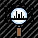 analytics, business, chart, finance, loupe icon
