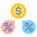 dividends, dollar, money, payment, percentage icon