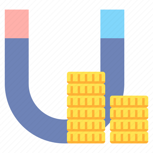coins, earnings, income, magnet, money icon