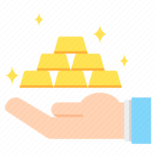 bars, gold, hand, investing, investment icon